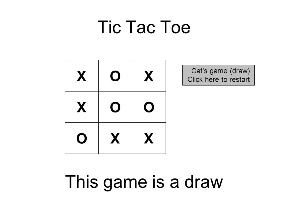 Tic Tac Toe X Cat's game (draw) Click here to restart OX OOX OXX This game is a draw