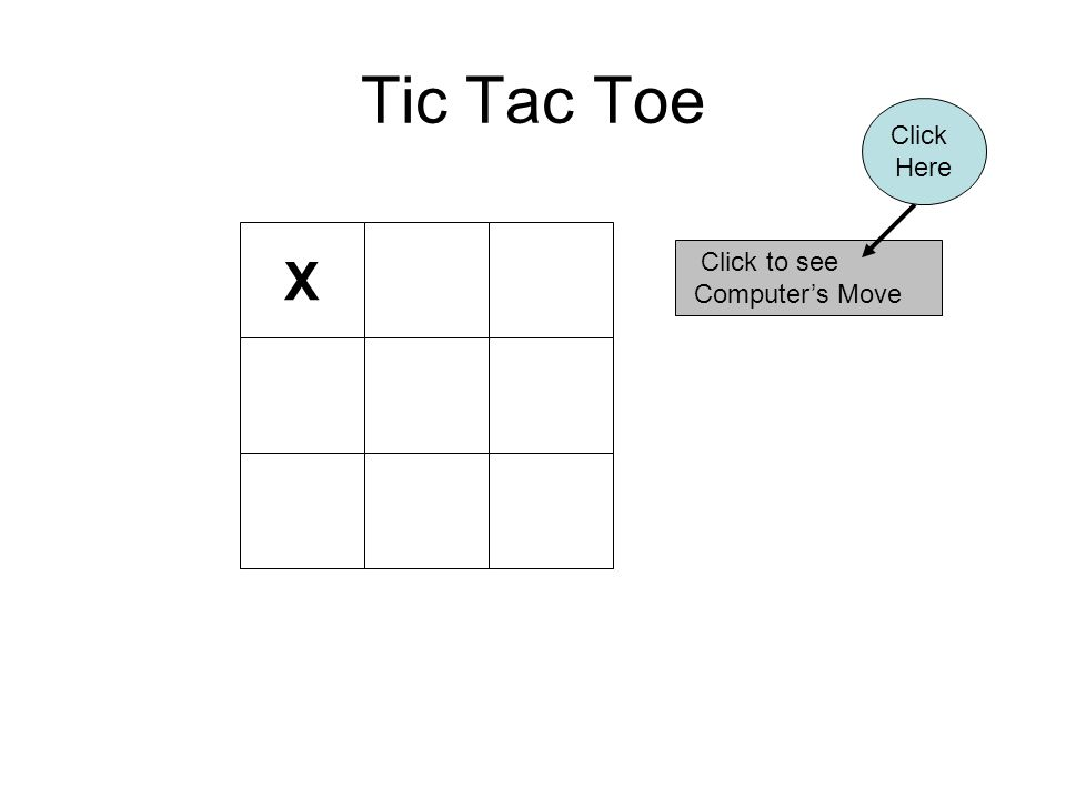 Tic Tac Toe X Click to see Computer's Move Click Here