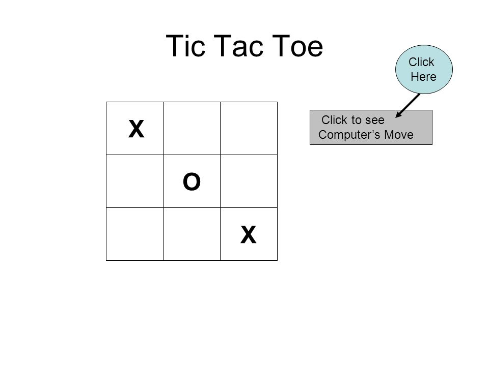 Tic Tac Toe X Click to see Computer's Move Click Here O X