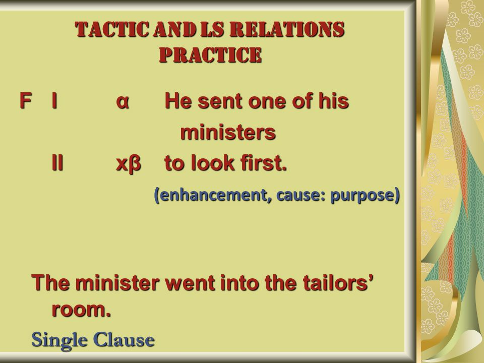 TACTIC AND LS RELATIONS PRACTICE FIαHe sent one of his ministers ministers IIxβto look first.