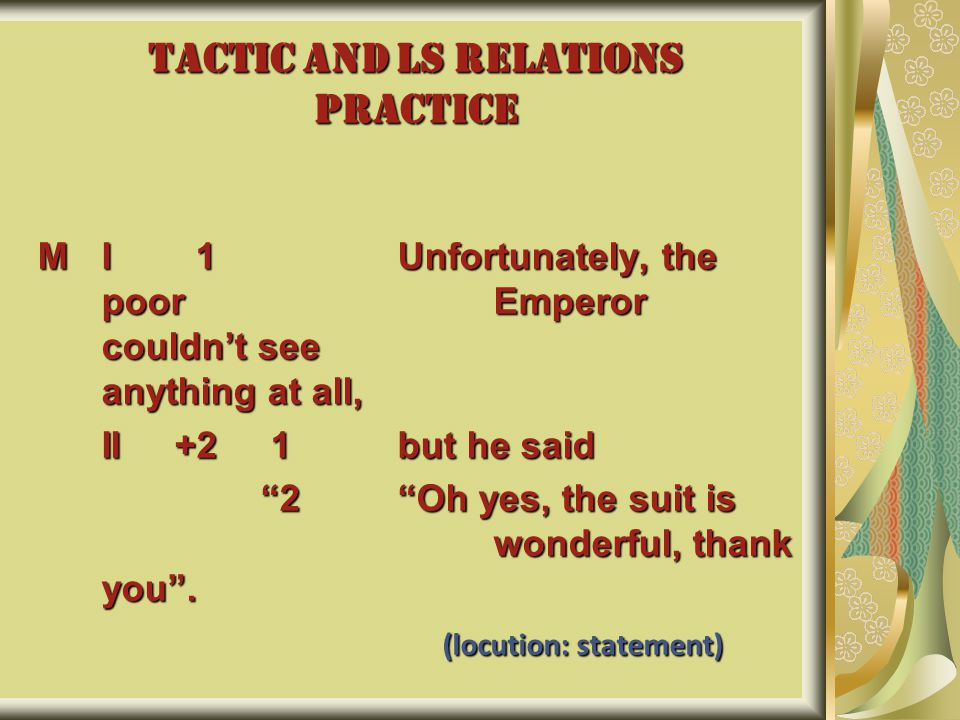 """TACTIC AND LS RELATIONS PRACTICE MI 1 Unfortunately, the poor Emperor couldn't see anything at all, II +2 1 but he said """"2 """"Oh yes, the suit is wonder"""