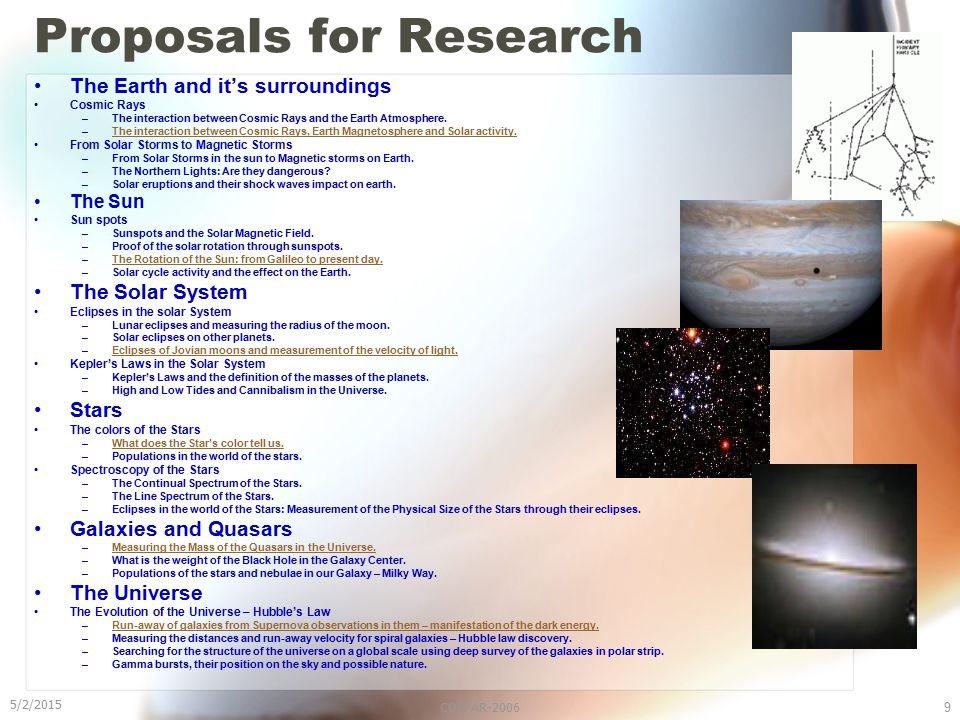5/2/2015 COSPAR-20069 Proposals for Research The Earth and it's surroundings Cosmic Rays –The interaction between Cosmic Rays and the Earth Atmosphere.