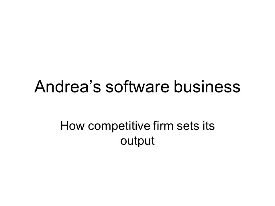 Andrea's software business How competitive firm sets its output