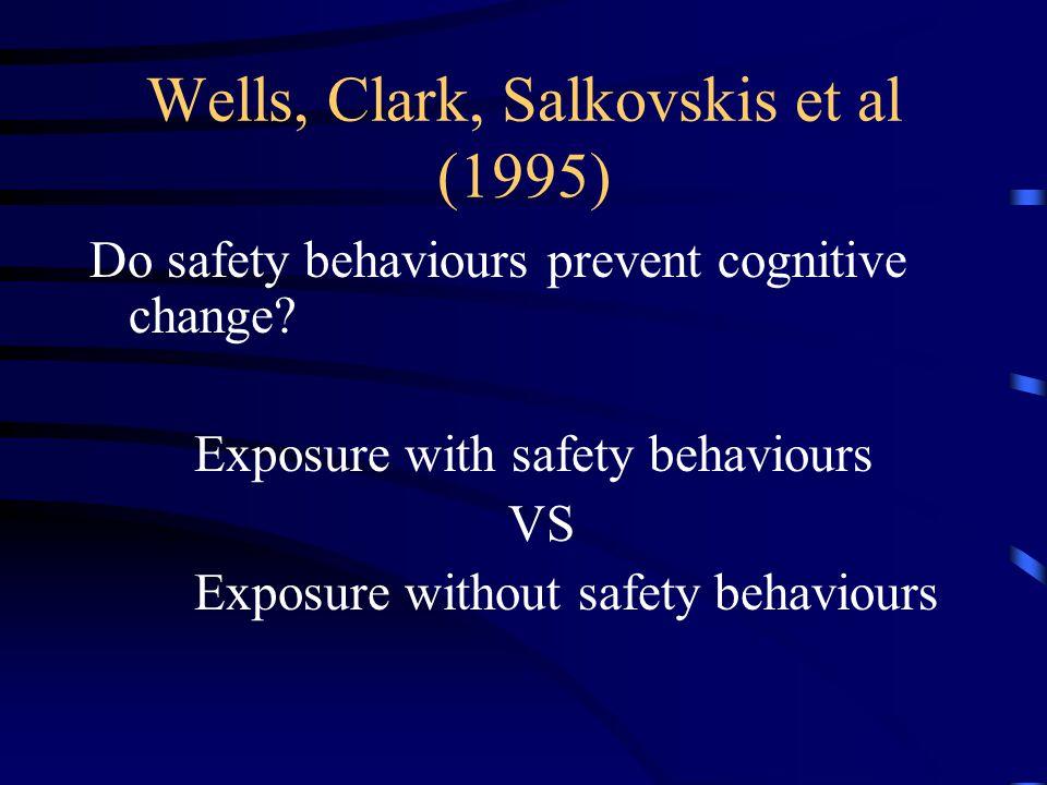 Wells, Clark, Salkovskis et al (1995) Do safety behaviours prevent cognitive change? Exposure with safety behaviours VS Exposure without safety behavi