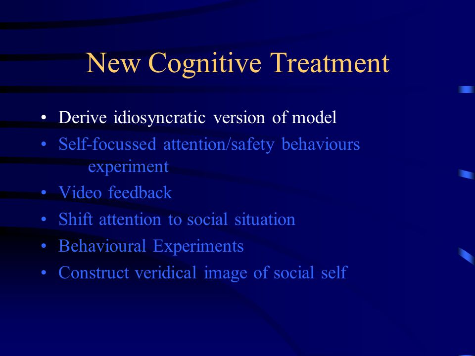 New Cognitive Treatment Derive idiosyncratic version of model Self-focussed attention/safety behaviours experiment Video feedback Shift attention to social situation Behavioural Experiments Construct veridical image of social self