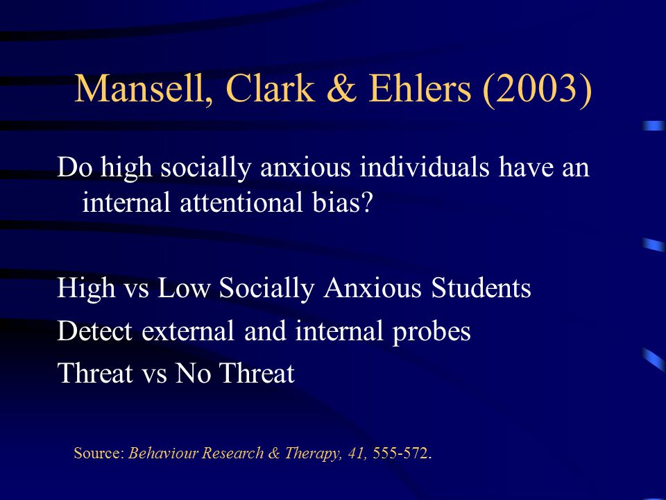 Mansell, Clark & Ehlers (2003) Do high socially anxious individuals have an internal attentional bias.
