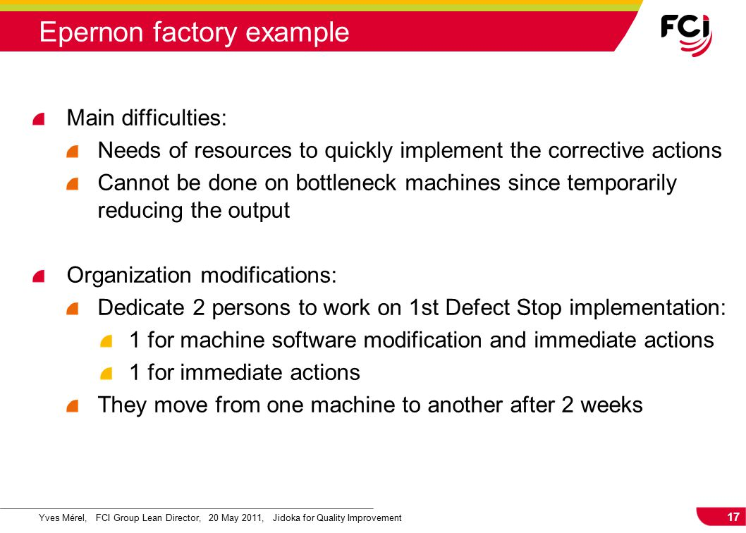 17 Yves Mérel, FCI Group Lean Director, 20 May 2011, Jidoka for Quality Improvement Main difficulties: Needs of resources to quickly implement the corrective actions Cannot be done on bottleneck machines since temporarily reducing the output Organization modifications: Dedicate 2 persons to work on 1st Defect Stop implementation: 1 for machine software modification and immediate actions 1 for immediate actions They move from one machine to another after 2 weeks Epernon factory example