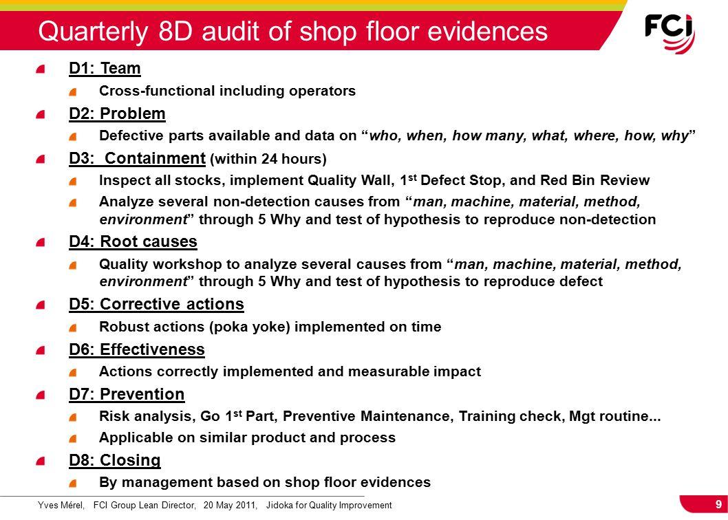 9 Yves Mérel, FCI Group Lean Director, 20 May 2011, Jidoka for Quality Improvement Quarterly 8D audit of shop floor evidences D1: Team Cross-functiona