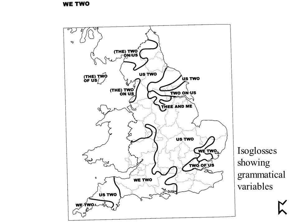 Isoglosses showing grammatical variables