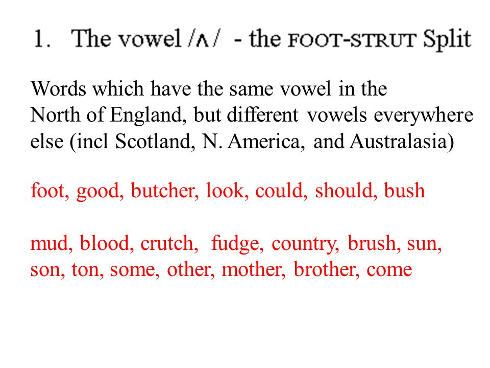 Words which have the same vowel in the North of England, but different vowels everywhere else (incl Scotland, N. America, and Australasia) foot, good,