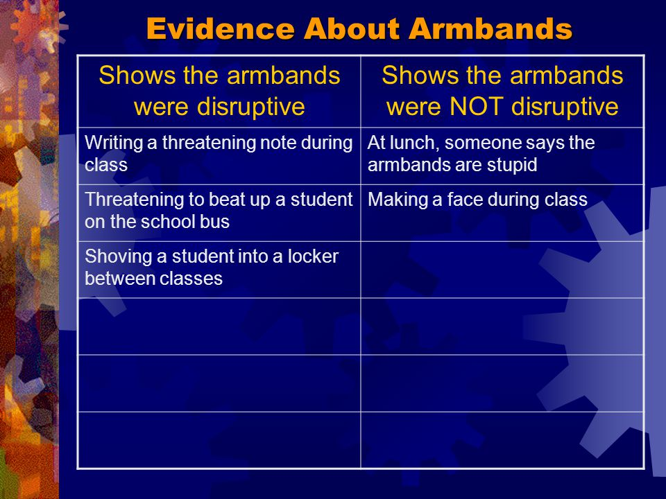 Evidence About Armbands Between classes, someone shoved one of the students wearing an armband into a locker.