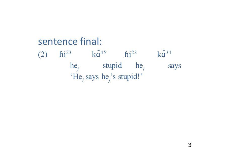 sentence final: (2) ɦ i 23 k ɑ ̃ 45 ɦ i 23 k ɑ ̃ 34 he j stupidhe i says 'He i says he j 's stupid!' 3
