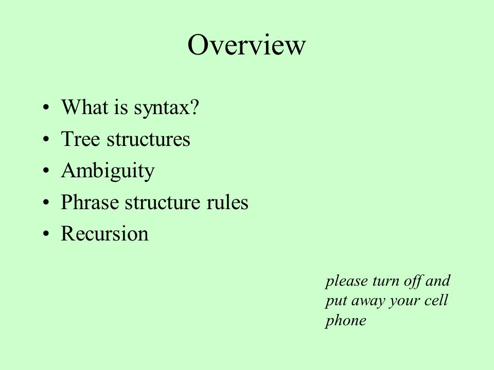 Overview What is syntax.