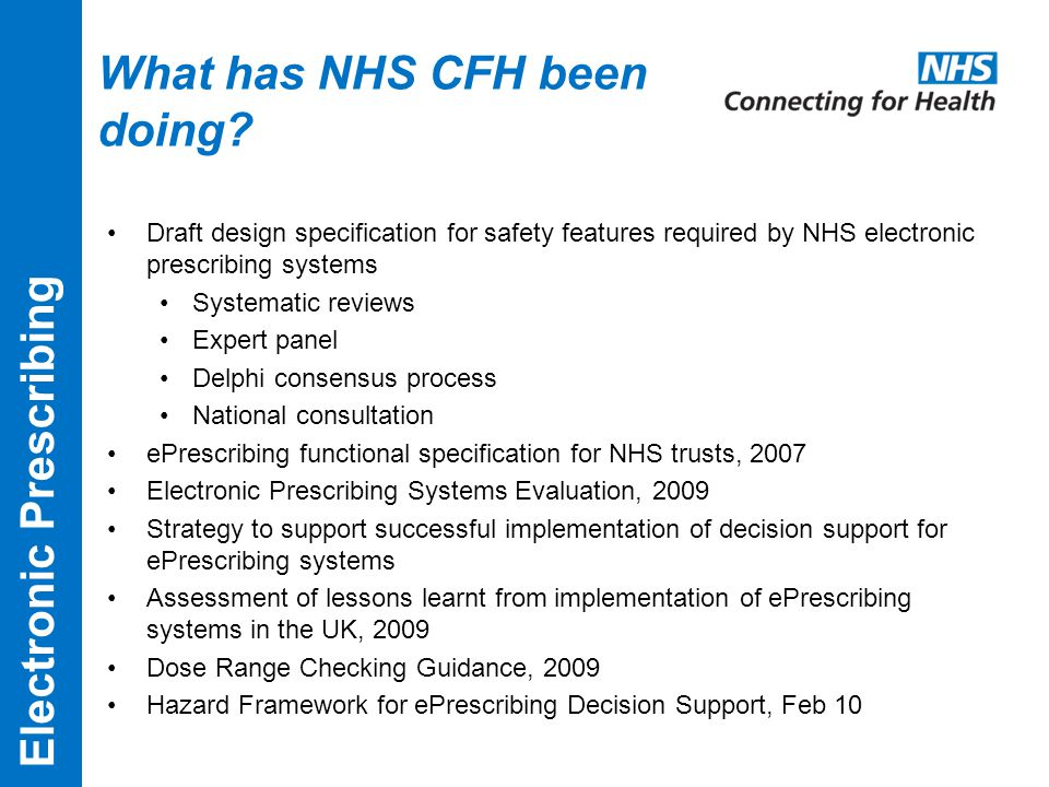 What has NHS CFH been doing.