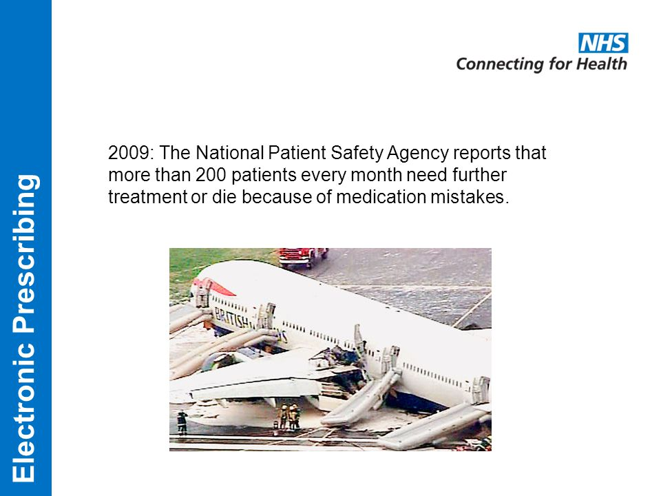 2009: The National Patient Safety Agency reports that more than 200 patients every month need further treatment or die because of medication mistakes.