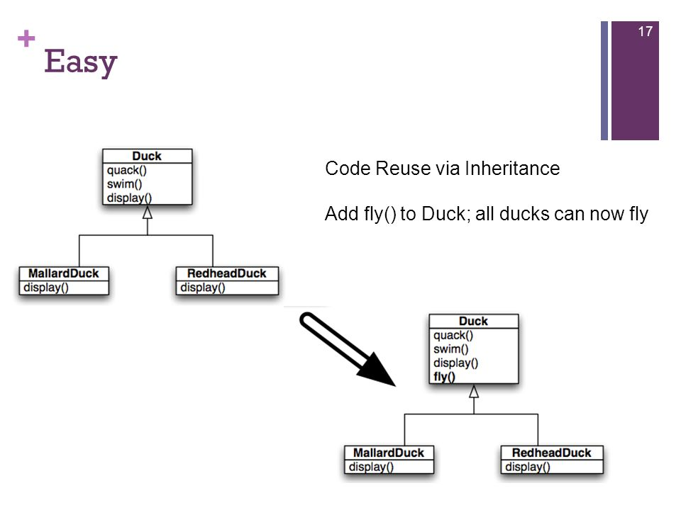 + Easy 17 Code Reuse via Inheritance Add fly() to Duck; all ducks can now fly