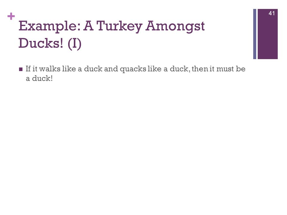 + Example: A Turkey Amongst Ducks.