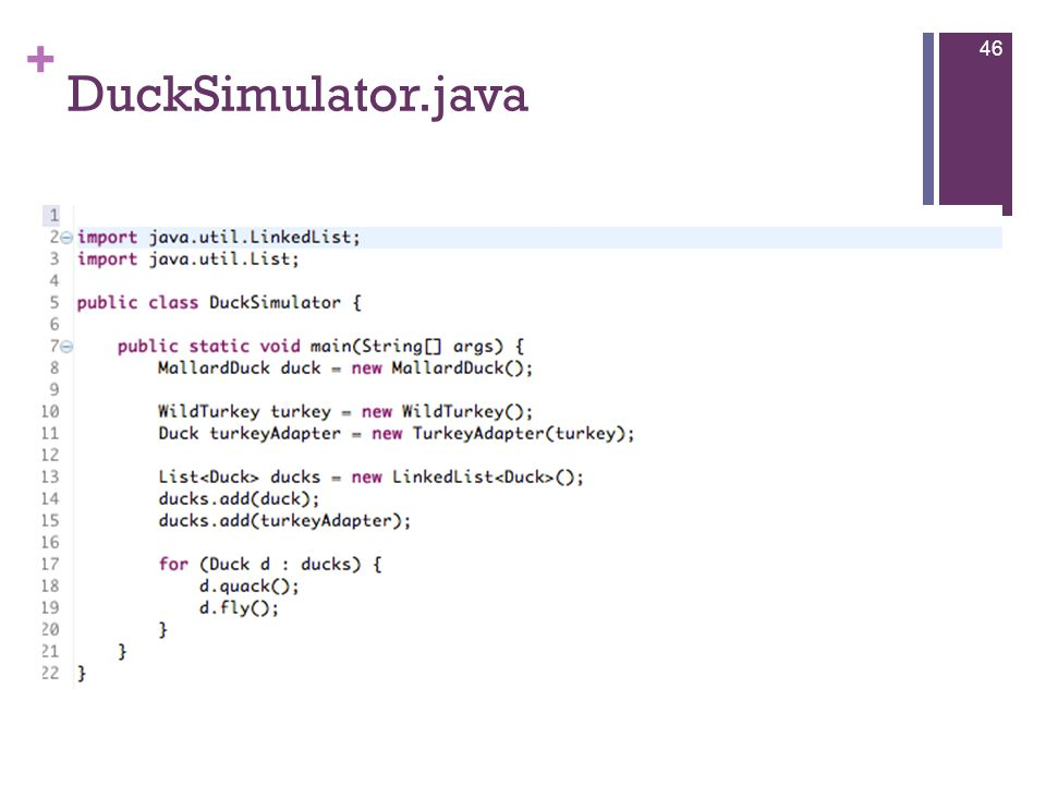 + DuckSimulator.java 46