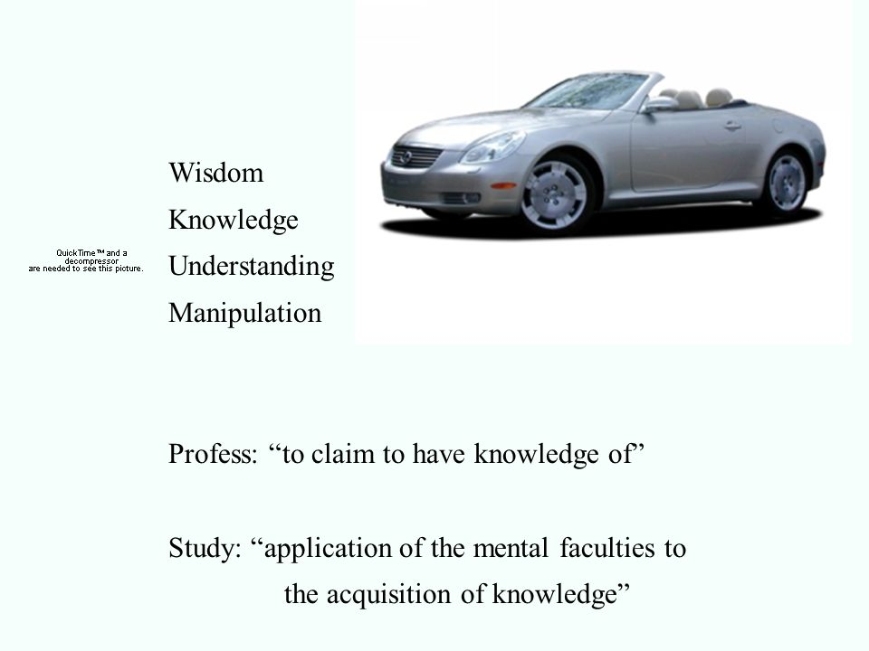 Wisdom Knowledge Understanding Manipulation Profess: to claim to have knowledge of Study: application of the mental faculties to the acquisition of knowledge