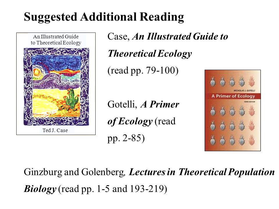 Suggested Additional Reading Case, An Illustrated Guide to Theoretical Ecology (read pp.