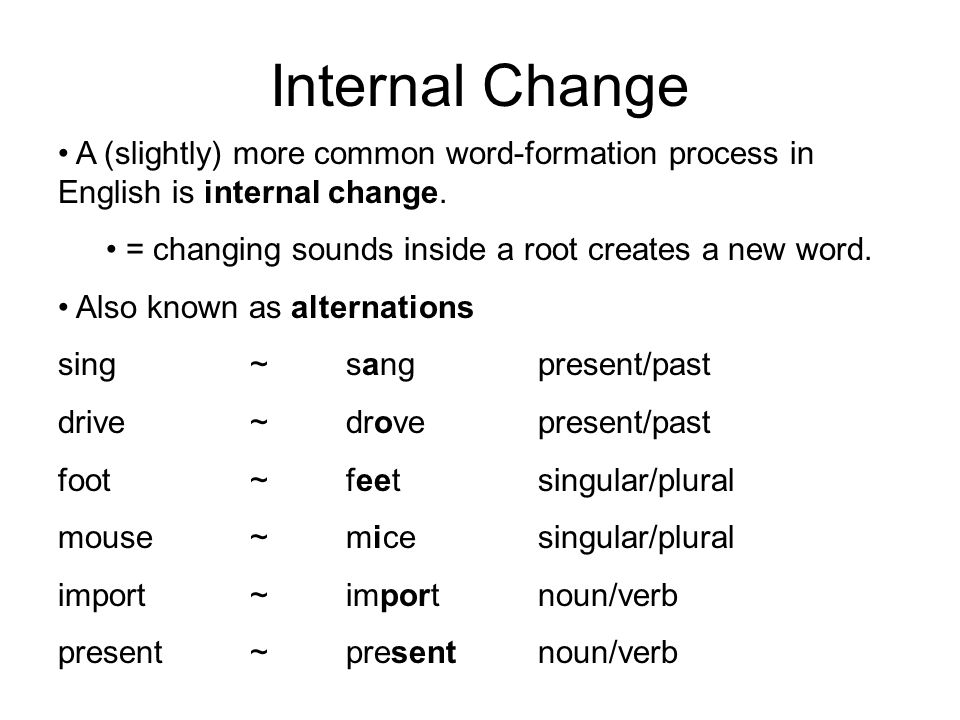 Internal Change A (slightly) more common word-formation process in English is internal change.