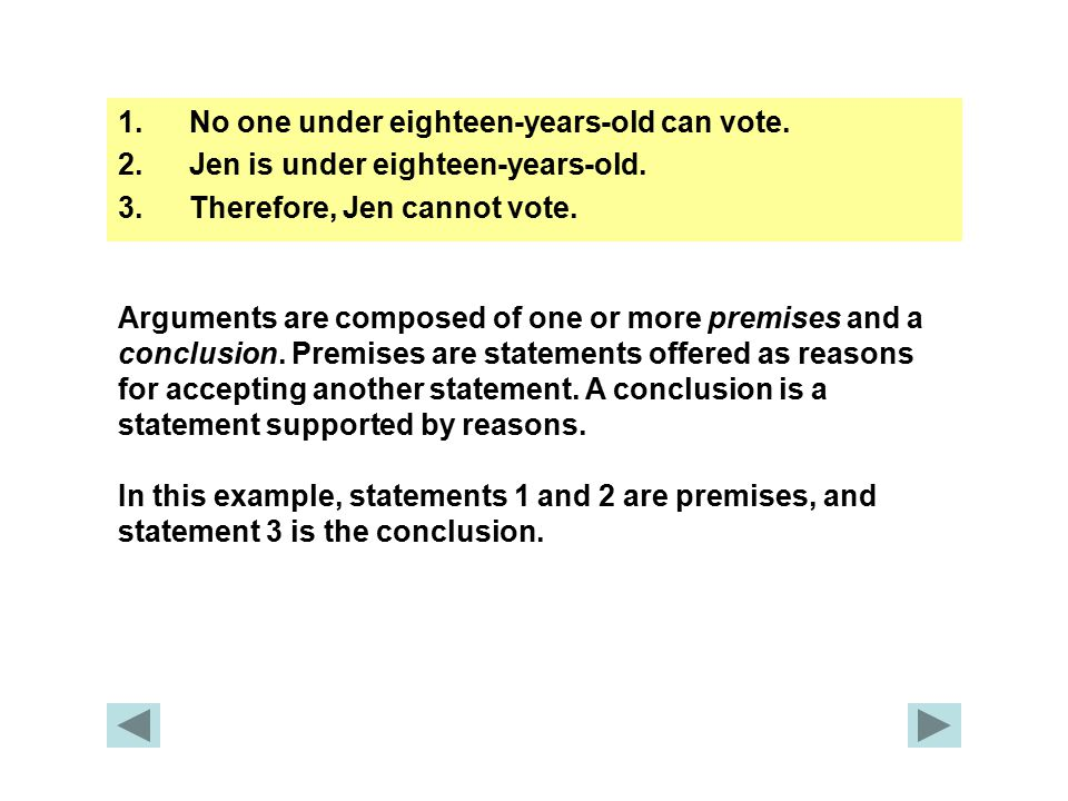 1.No one under eighteen-years-old can vote. 2.Jen is under eighteen-years-old.