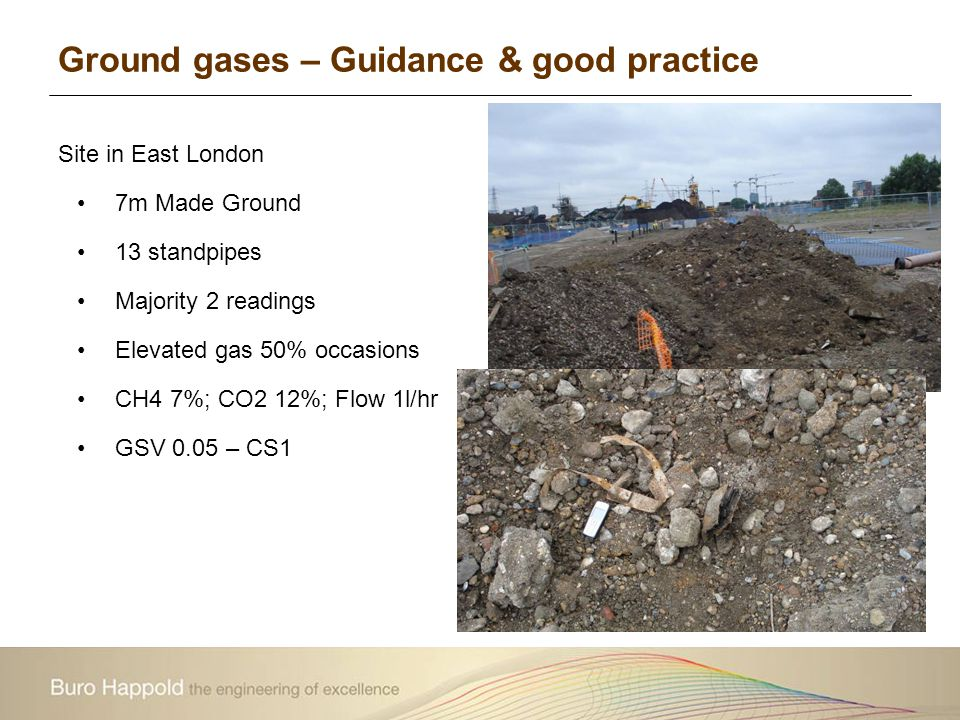 Ground gases – Guidance & good practice Site in East London 7m Made Ground 13 standpipes Majority 2 readings Elevated gas 50% occasions CH4 7%; CO2 12