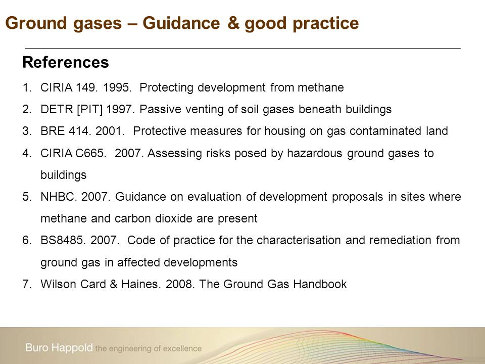 References 1.CIRIA 149. 1995. Protecting development from methane 2.DETR [PIT] 1997. Passive venting of soil gases beneath buildings 3.BRE 414. 2001.