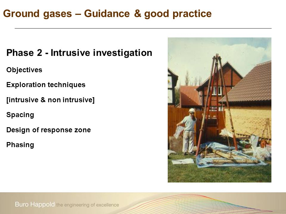 Phase 2 - Intrusive investigation Objectives Exploration techniques [intrusive & non intrusive] Spacing Design of response zone Phasing Ground gases –
