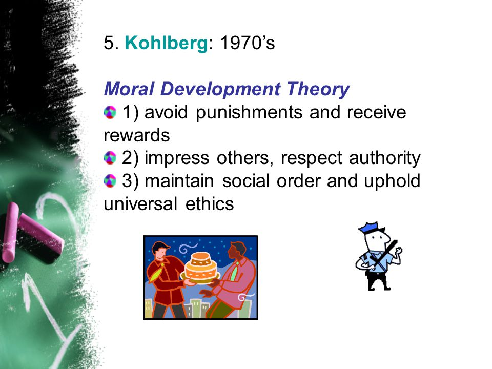 5. Kohlberg: 1970's Moral Development Theory 1) avoid punishments and receive rewards 2) impress others, respect authority 3) maintain social order an