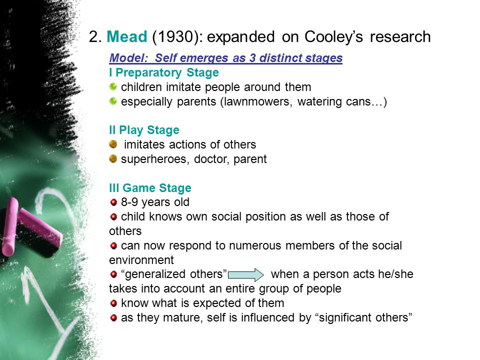 2. Mead (1930): expanded on Cooley's research Model: Self emerges as 3 distinct stages I Preparatory Stage children imitate people around them especia