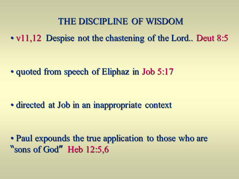 THE DISCIPLINE OF WISDOM v11,12 Despise not the chastening of the Lord.. Deut 8:5 v11,12 Despise not the chastening of the Lord.. Deut 8:5 quoted from