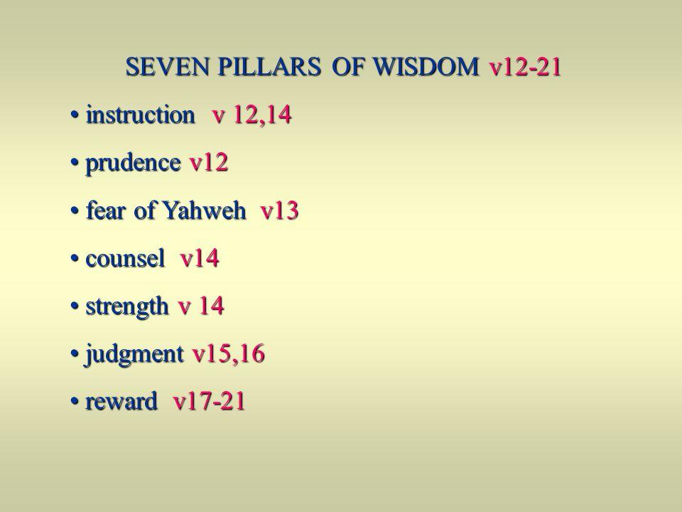 SEVEN PILLARS OF WISDOM v12-21 instruction v 12,14 instruction v 12,14 prudence v12 prudence v12 fear of Yahweh v13 fear of Yahweh v13 counsel v14 cou