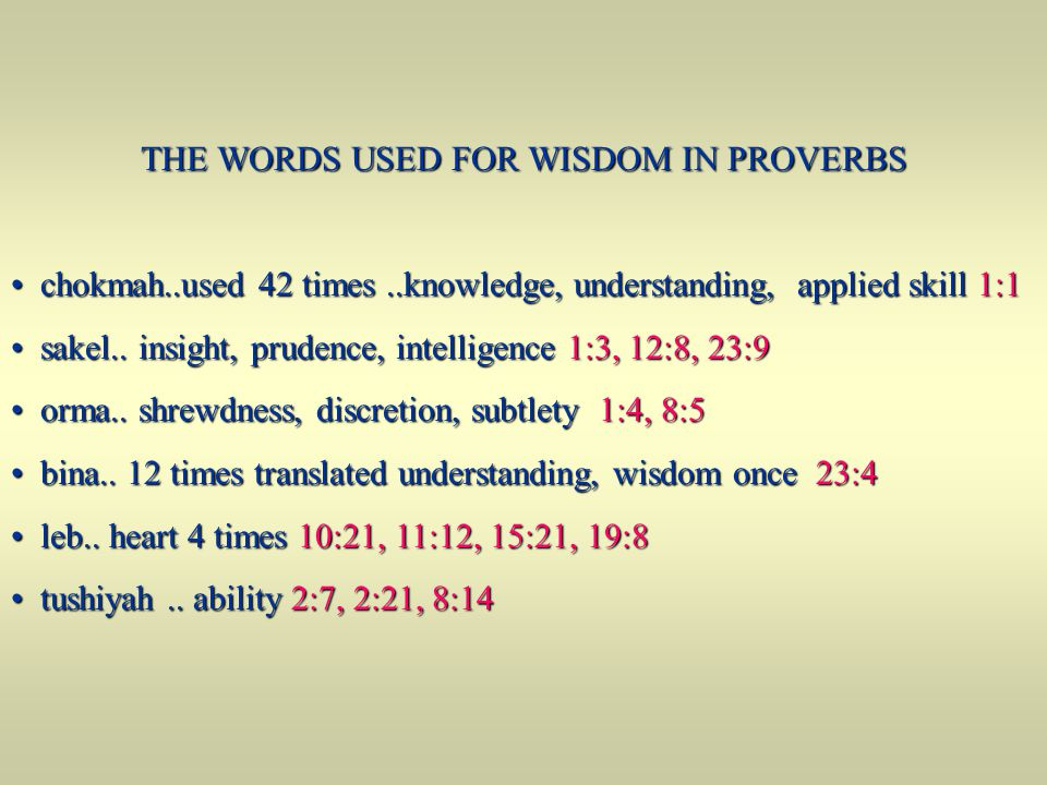 THE WORDS USED FOR WISDOM IN PROVERBS chokmah..used 42 times..knowledge, understanding, applied skill 1:1 chokmah..used 42 times..knowledge, understan