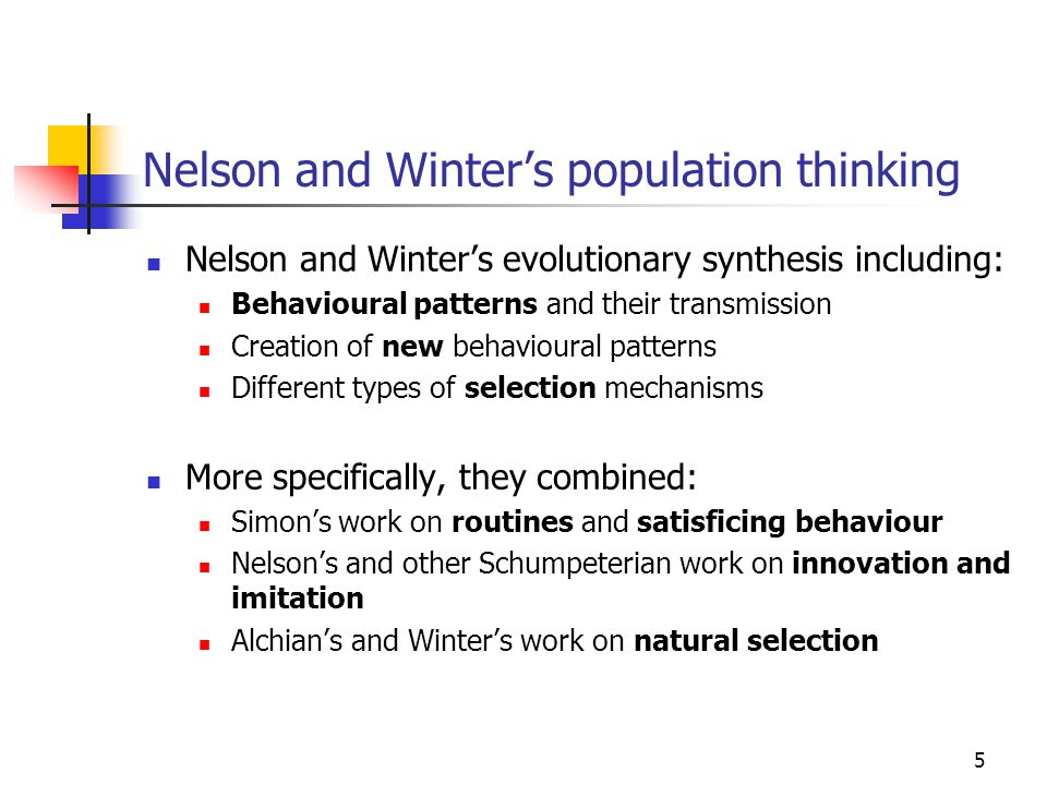 6 The structure of the Nelson-Winter book Part I: Overview and Motivation Part II: Organization-Theoretic Foundations of Economic Evolutionary Theory The part that has made Nelson and Winter famous in leading business schools and in leading business economics journals Part III: Textbook Economics Revisited Includes KISS models of the selection process Part IV: Growth Theory Micro-founded endogenous growth theory, but no KISS Part V: Schumpeterian Competition Core contribution to evolutionary theory and to a realistic industrial dynamics, but no KISS Part VI: Economic Welfare and Policy Part VII: Conclusion