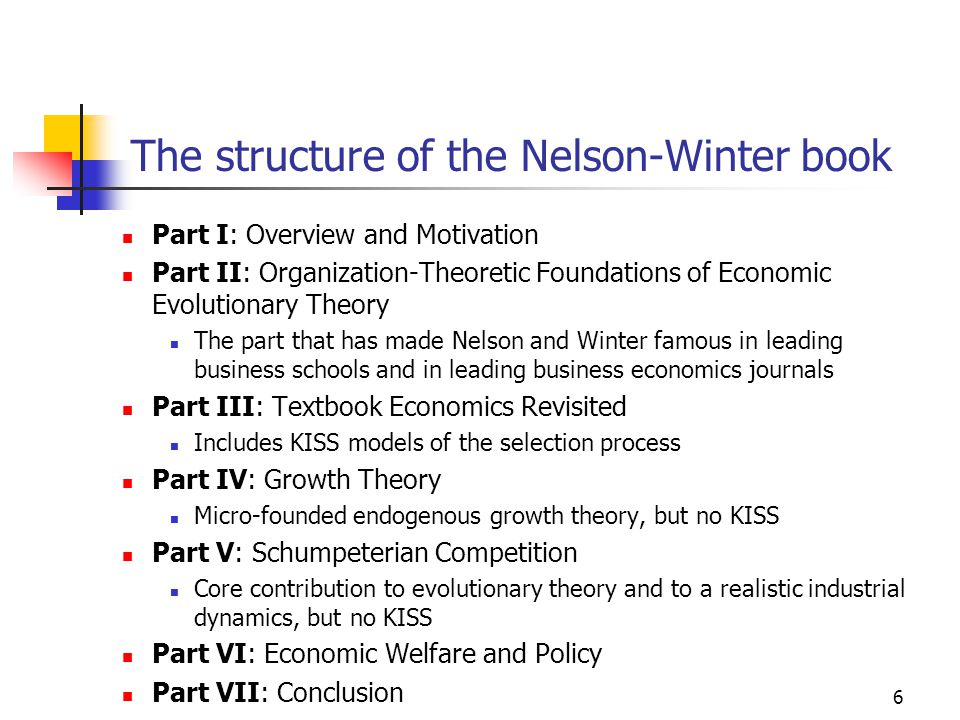 7 The Nelson-Winter family of simulation models NWch6, NWch7 and NWch10: Theoretical KISS models of the selection process NWch9 reproduces Solow's growth data in a more 'realistic' way than through Solow's own growth model NWch12: the competition between innovators and imitators in a process of Schumpeterian competition (Schumpeter Mark II) NWch13: how concentration and macroproductivity are influenced by the conditions of innovation and imitation, and by investment strategies NWch14: the trade-off between static efficiency and dynamic efficiency (based on some degree of market power) XNW1984: Winter's study of Schumpeterian competition in alternative technological regimes XNW1999: history-friendly modelling of the computer industry