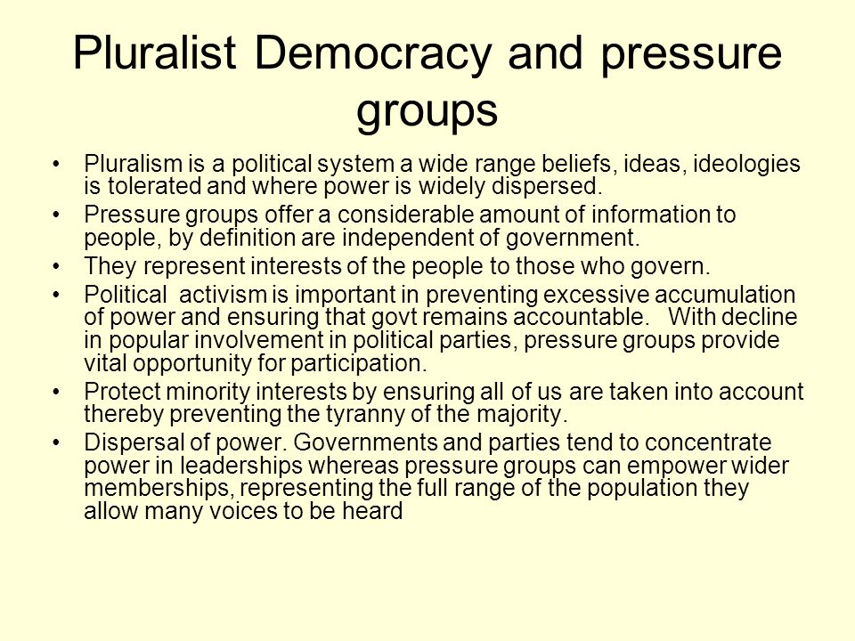 Undemocratic features of pressure groups Disproportionate influence some sectional groups a disproportionate influence- farmers because a strategic resource- food exert disproportionate influence.