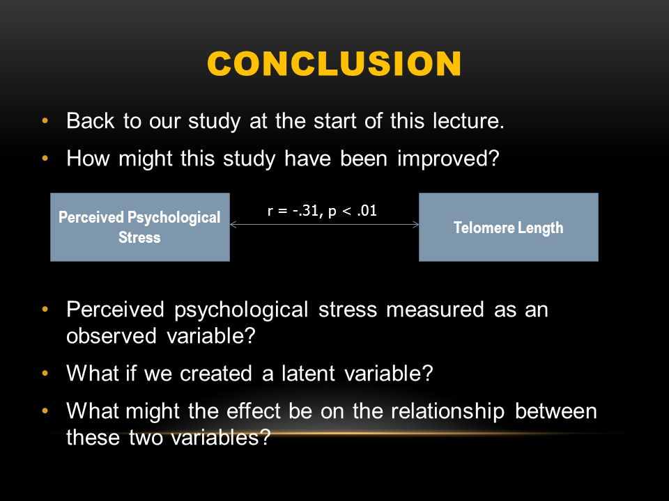 CONCLUSION Back to our study at the start of this lecture.
