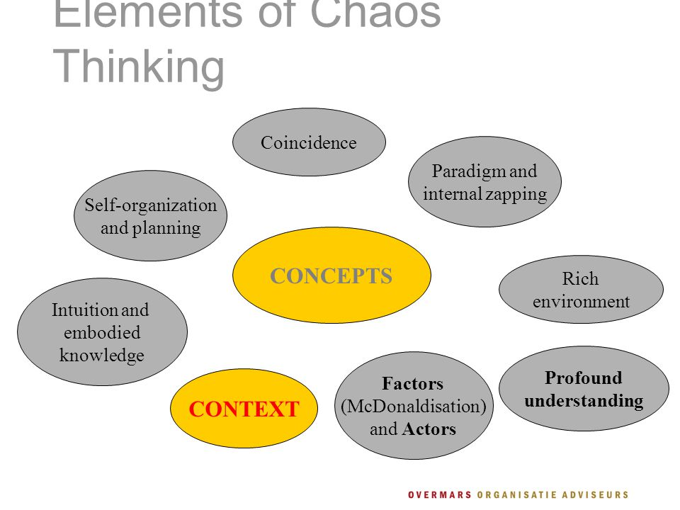 Elements of Chaos Thinking CONCEPTS Self-organization and planning Intuition and embodied knowledge Coincidence Profound understanding Rich environment Paradigm and internal zapping CONTEXT Factors (McDonaldisation) and Actors