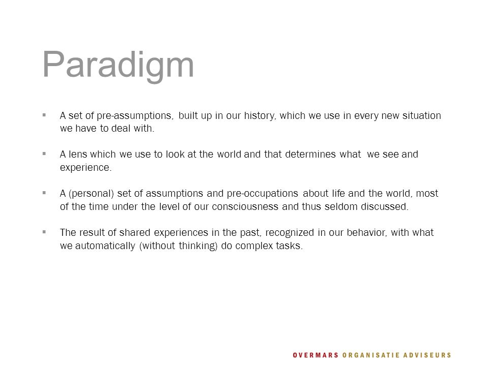 Paradigm  A set of pre-assumptions, built up in our history, which we use in every new situation we have to deal with.