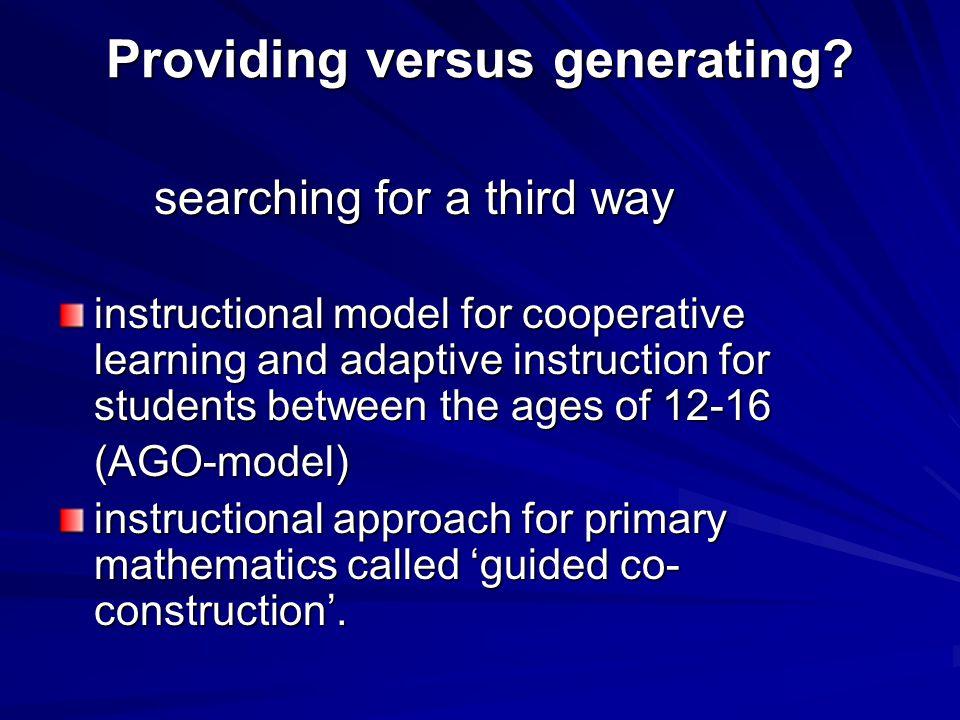 Providing versus generating.