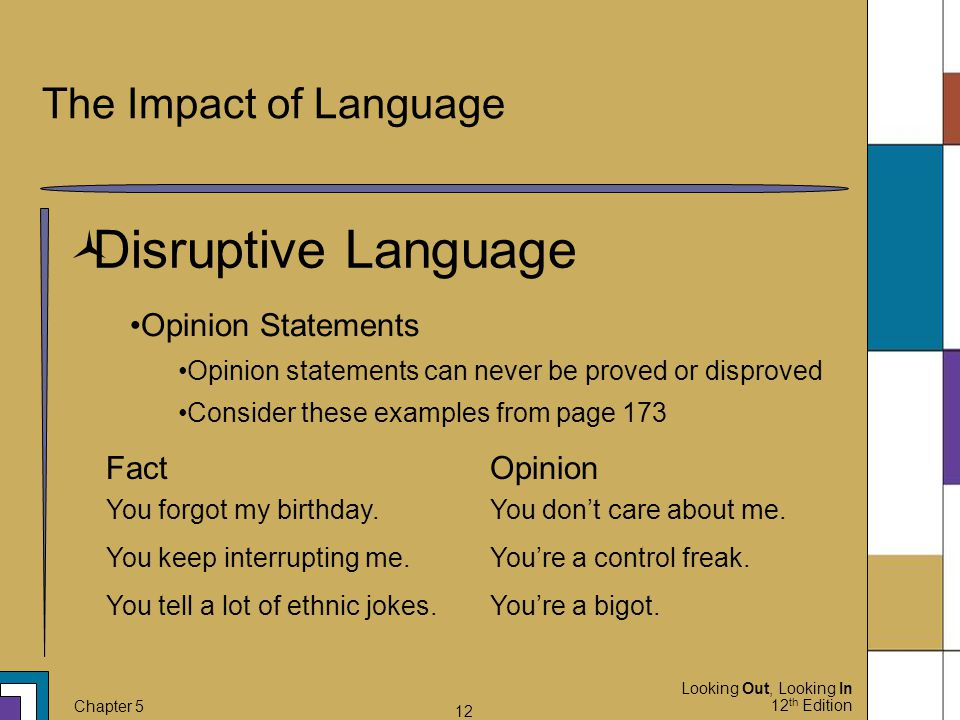 Looking Out, Looking In 12 th Edition Chapter 5 12 The Impact of Language  Disruptive Language Opinion Statements Opinion statements can never be pro