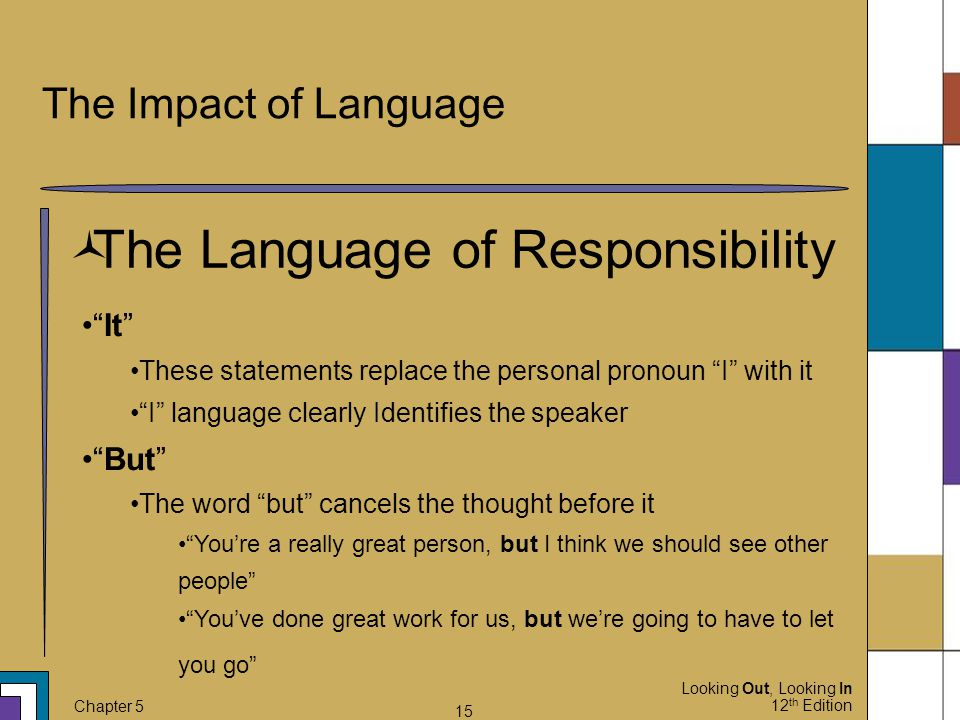 "Looking Out, Looking In 12 th Edition Chapter 5 15 The Impact of Language  The Language of Responsibility ""It"" These statements replace the personal"