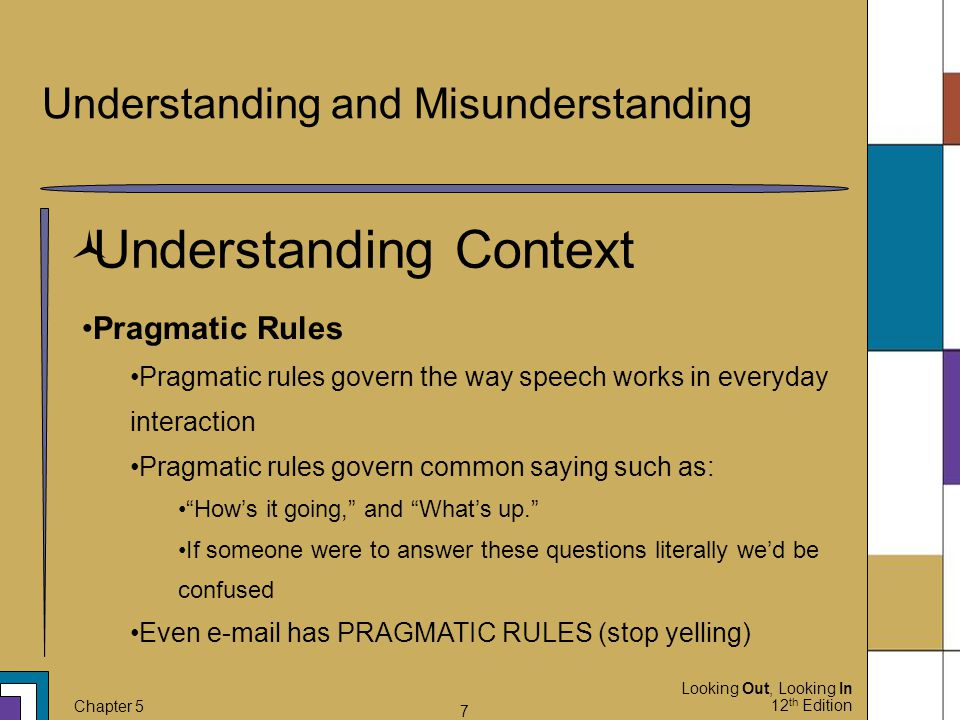 Looking Out, Looking In 12 th Edition Chapter 5 7 Understanding and Misunderstanding  Understanding Context Pragmatic Rules Pragmatic rules govern th