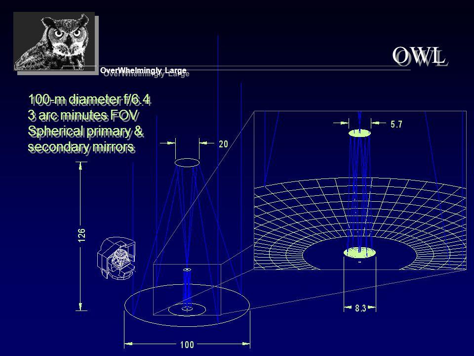 100-m diameter f/6.4 3 arc minutes FOV Spherical primary & secondary mirrors 100-m diameter f/6.4 3 arc minutes FOV Spherical primary & secondary mirrors OWL OverWhelmingly Large