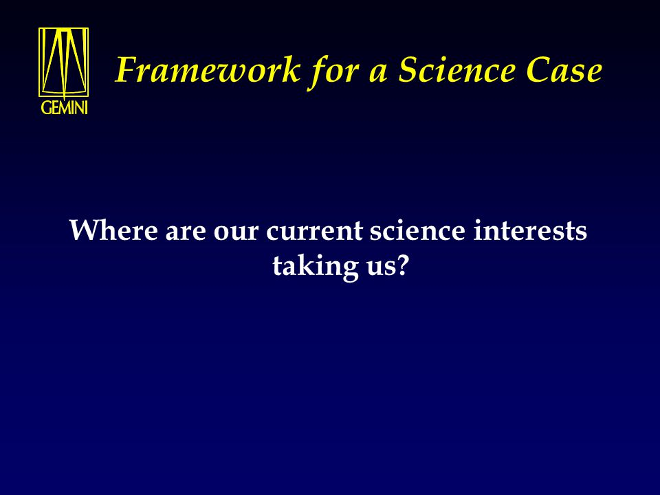 Framework for a Science Case Where are our current science interests taking us