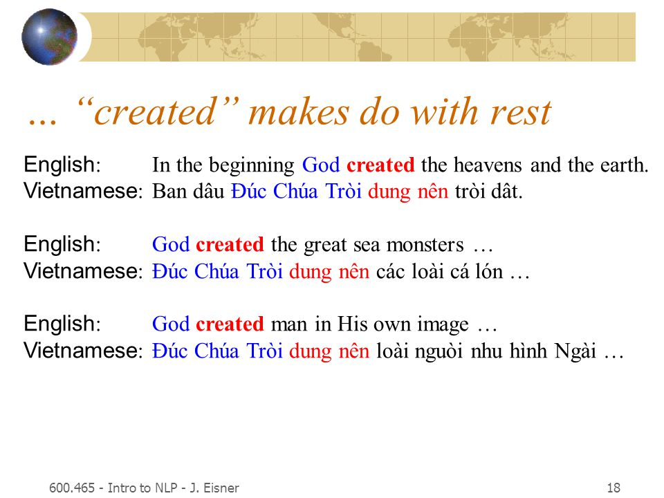 "600.465 - Intro to NLP - J. Eisner18 … ""created"" makes do with rest English :In the beginning God created the heavens and the earth. Vietnamese :Ban d"