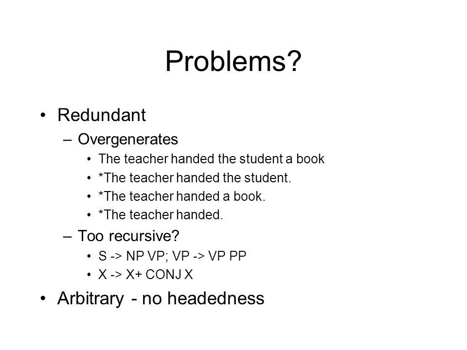 Problems? Redundant –Overgenerates The teacher handed the student a book *The teacher handed the student. *The teacher handed a book. *The teacher han