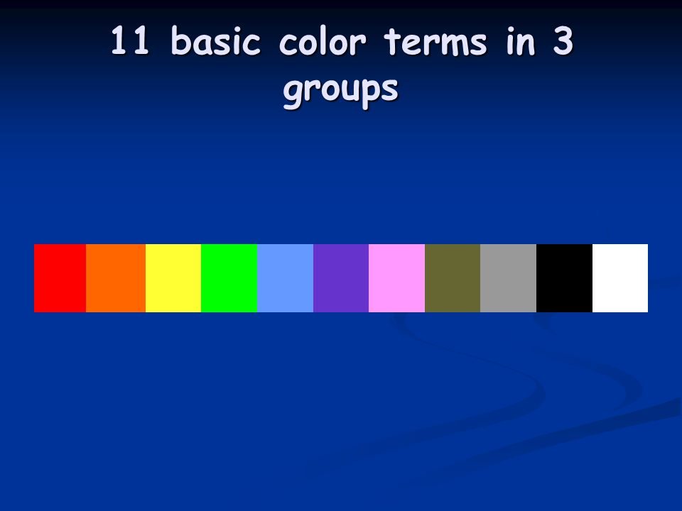 11 basic color terms in 3 groups