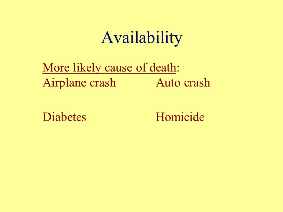 Availability More likely cause of death: Airplane crashAuto crash DiabetesHomicide